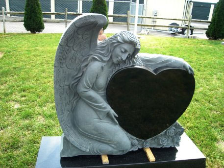 angel granite headstone