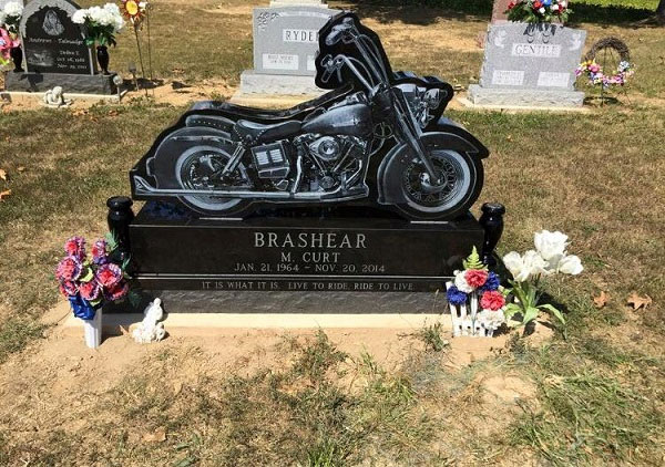 motorcycle granite headstone